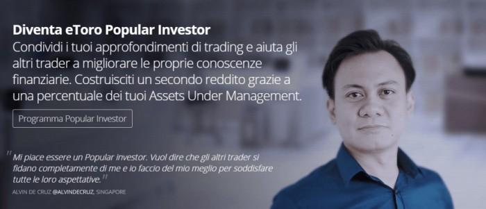Programma Popular Investor eToro: come guadagnare un reddito extra dal CFD Trading