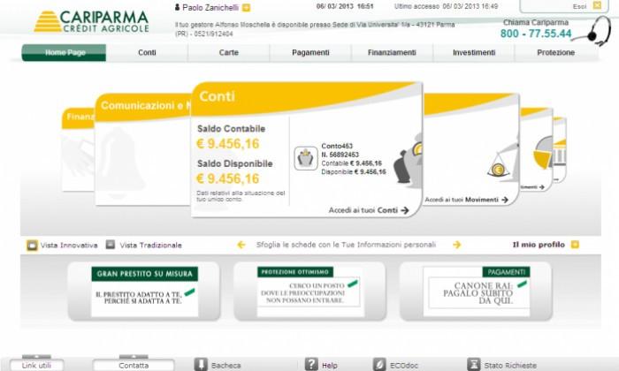 Nowbanking Cariparma come funziona: accesso al conto privati home banking