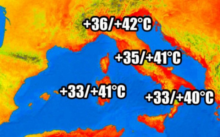 Previsioni Meteo: caldo africano con temperature fino a 42 gradi. Record storico al nord