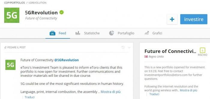 eToro copyportfolio 5G Revolution per investire nelle nuove reti 5G