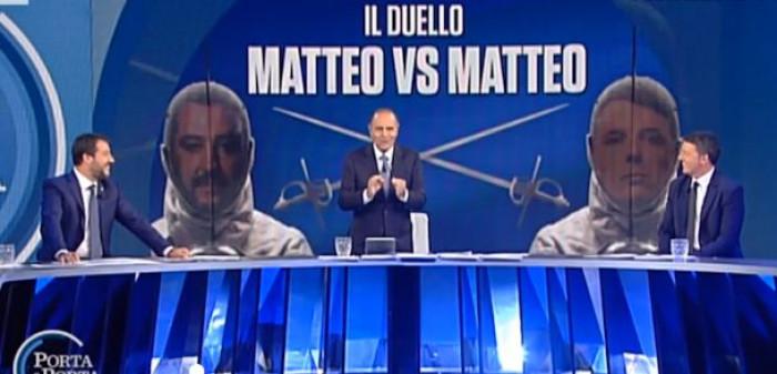 Duello Tv Salvini-Renzi a Porta a Porta. Il leader della Lega: