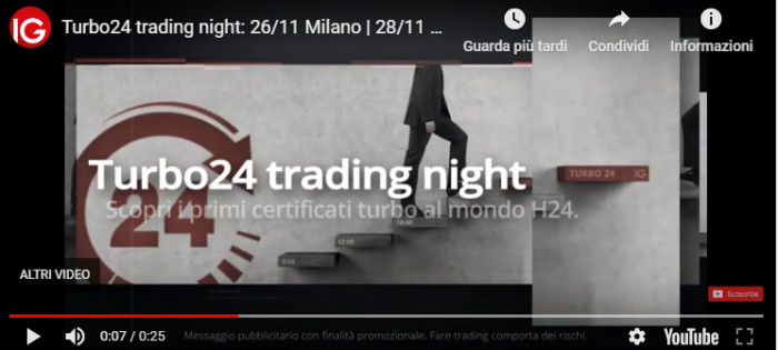IG Turbo24 Trading Night: roadshow sul trading con i certificati Turbo24 IG.com