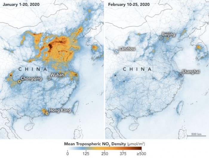 Coronavirus, nelle immagini della NASA la riduzione dell'inquinamento in Cina