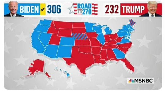 Presidenziali Usa 2020: CNN ed NBC assegnano gli ultimi due Stati proclamando la vittoria di Biden con 306 voti