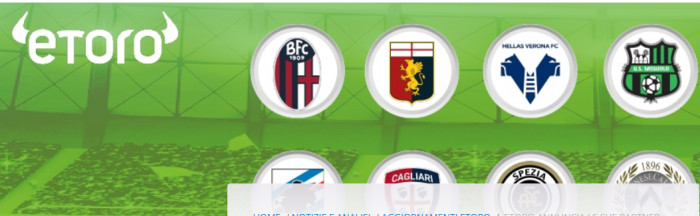 Trading Online: eToro partner di 8 club di serie A, ecco quali sono
